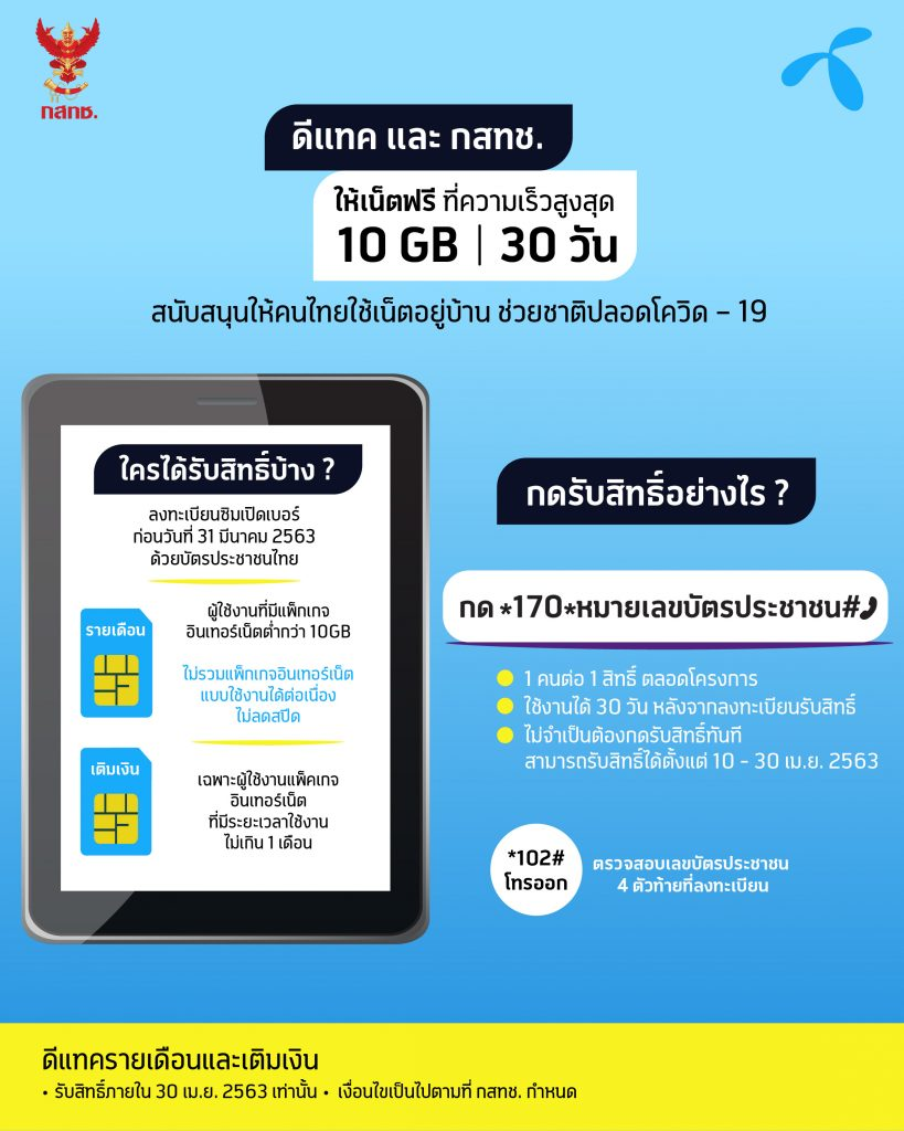dtac and NBTC offer 10GB max speed internet for free to support life at home and minimize the spread of COVID-19